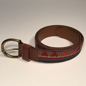 Fossil Brown Leather Belt Women Size M